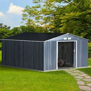 Metal Outdoor Utility Storage Tool Shed Kit Backyard Dark Grey $969.99