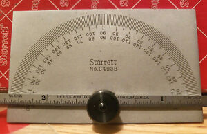 Starrett Protractor C493B mint unused in box 0 180 degree 6quot; ruler rule $69.95