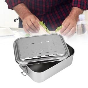 Single Layer Lunch Box Food Bento Container Stainless Steel For Students Large