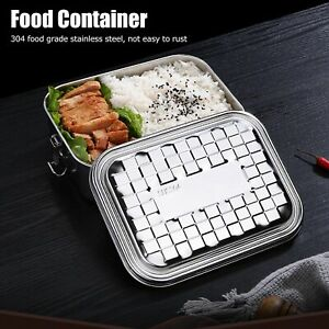 Single Layer Lunch Box Food Bento Container Stainless Steel For Students Medium