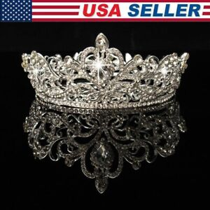 Crystal Rhinestone Queen Hair Crown Tiara Wedding Pageant Bridal Headpiece US $10.21
