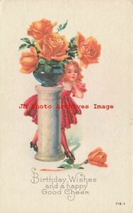 Birthday Karle No 716 1 Girl Under Large Vase of Yellow Roses $5.99
