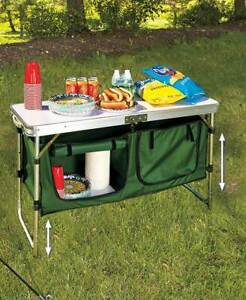 Portable Outdoor Camping Kitchen Table with Storage