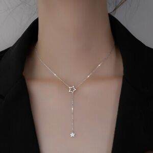 925 Silver Star Tassel Cubic Zirconia Clavicle Chain Pendant Necklace Women Gift