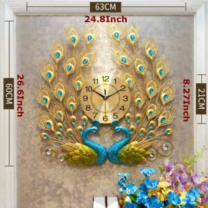 Luxury Peacock Large Wall Clock 3D Metal Living Room Wall Watch Home Decor $63.99
