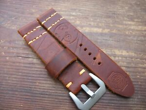 Handmade Brown Bright Orange Thick Worn Embossed Leather Watchstrap 22mm GBP 14.90