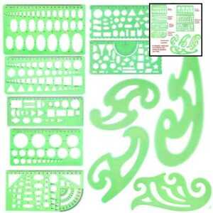 11 PCS Geometric Drawings Templates Stencils French Curve Engineering Drafting T $20.80
