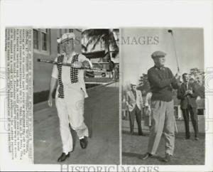 1964 Press Photo Presidents Dwight Eisenhower and Harry Truman enjoy outdoors.