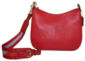 Coach F72702 Jes Hobo Shoulder Bag Red Refined Leather Crossbody NWT $378 Ret FS