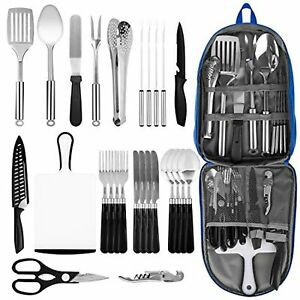 Portable Camping Kitchen Utensil Set 27 Piece Stainless Steel Outdoor Cooking a