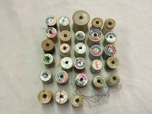 Lot Of 28 Craft Sewing Wood Spools Different Sizes Most With Thread $6.99