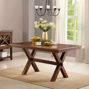 Large Indoor Modern Crossing Wood Dining Room Table Kitchen Furniture Seats 6 $246.87