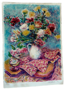 Large Floral Stillife Chagall School French Lithograph Pencil Signed 30@22 1942? $200.00