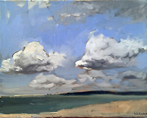 Impressionist Ocean Cloud Seascape Oil Painting on Canvas Original Signed $180.00