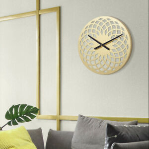 Elegant Home For You Wall Clocks Gold 15quot; Round Metal Battery Operated For $34.84
