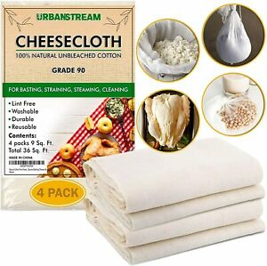 Natural Cheesecloth 100% Unbleached Cotton Grade 90 36 sq ft Total 4