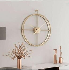 Modern 3D Wall Clocks Battery Operated Decorative 20quot;x24quot; Round Iron Golden $109.45