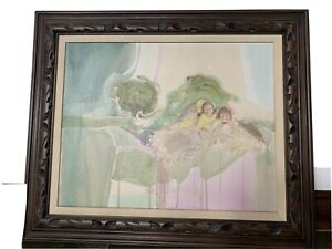 """Oil Painting on Canvasquot;Two Girlsquot; artist unknown original 36""""w x 30""""h framed $101.00"""