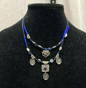 CHICO#x27;S Necklace Pendants Blue Beaded MultiColor Silver Charms Adjustable