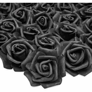 100 Pack 3 Black Artificial Rose Fake Flower Heads for Flower Décor and Wedding
