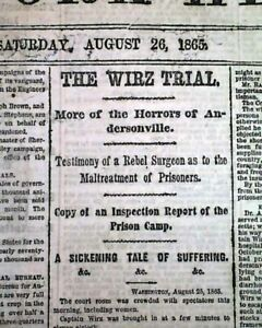 ANDERSONVILLE PRISON Georgia Henry Wirz TRIAL amp; Reconstruction 1865 NY Newspaper $36.00
