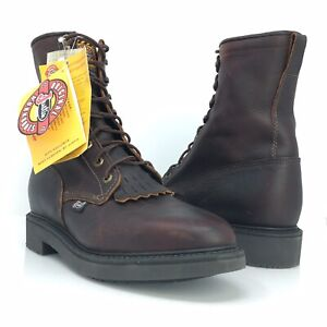 Justin Work Boots Briar Pitstop Soft Toe Body Cushion Comfort System NWOB