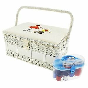 Vintage Sewing Basket Organizer Box Kit with Hand Sewing Supplies Rectangular $25.99