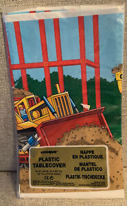 CONSTRUCTION PARTY PLASTIC TABLE COVER Bulldozer Dump Truck 54 In x 84 In. NOS