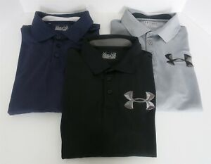 3 PC MENS UNDER ARMOUR GOLF POLO SHIRTS SIZE L BLACK GRAY NAVY W #96 ON SLEEVE $19.99