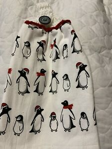 Penguin Double Thick Crochet Top Hanging Kitchen Dish Towel By Laura