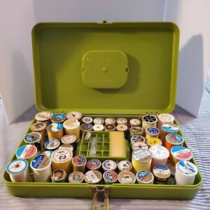 Vintage 70s Sewing Thread Box Avocado Green Plastic with 48 Spools of Thread $35.00