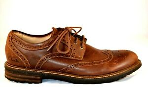 Mens Clarks Oxfords Brown Leather Wingtip Brogue Shoes 8M $25.00