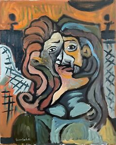 Picasso Style Cubism Abstract Portrait Oil Painting on Canvas 16x20 Original $150.00