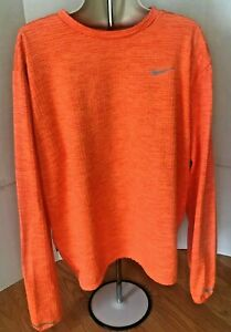 Mens Nike Running Dry Fit Shirt Reflectors Logo Long Sleeves Orange Sz XL $20.00