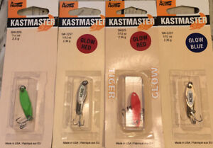Lot of 4 NIB Acme Kastmaster Spoons 1 12 ounce all different colors GREAT LURES