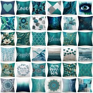 18x18 Cushion COVER Teal Blue White Double Sided Decorative Throw Pillow Case