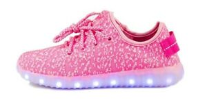 MEJC Girls LED Shoes Light Fashion Sneaker Pink Youth Size 1.5Y USB Charger $29.97
