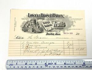 1899 Lowell Brothers Bailey Fruits Produce Boston MA to Monson ME $24.00
