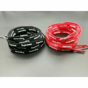 NEW RED OR BLACK SUPREME SHOELACES DOUBLE SIDED STAMPED LOGO FREE SHIPPING $14.98