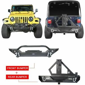 Front Bar Rear Bumper w Winch Plate Tire Carrier for Jeep Wrangler TJ 97 06 $719.69