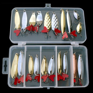 20x Fishing Metal Spoon Lures Spinner Tackle Hook Lot Bass CrankBait Trout Baits
