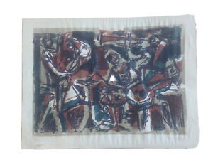 Mid Century Modern Music Band Jazz Lithograph Signed cubism expressionism $50.00
