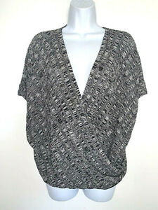 Eileen Fisher Gray Silk Linen Faux Wrap Sweater Top Womens XL $39.99