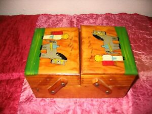 Vintage Hand Painted Wood Accordion Sewing Storage Caddy Box $38.00