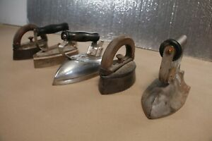 Vintage Antique Clothing Irons Lot of 5 Pacific Electric General Wood Handle $54.59
