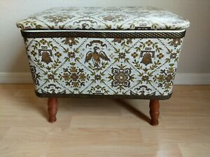 Vtg Large Redmon Sewing Storage Box Footed Ottoman Gold White Mid Century Eagle $52.00