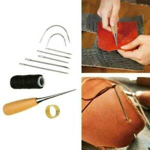 10PC Leather Sewing Needles Stitching Awl Needle Thread Thimble Shoe Repair Tool $2.23