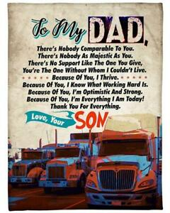 To My Dad Blanket Dad Truck Print Blanket From Son Love Dad Birthday Gift $55.95