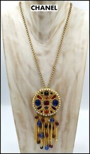 VERY RARE GORGEOUS VINTAGE SIGNED CHANEL GRIPOIX GLASS DANGLING BROOCH NECKLACE $4500.00