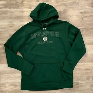 Under Armour Hoodie Mens Size 2XL Green Graphic Pullover Loose Fit Sweatshirt $27.99